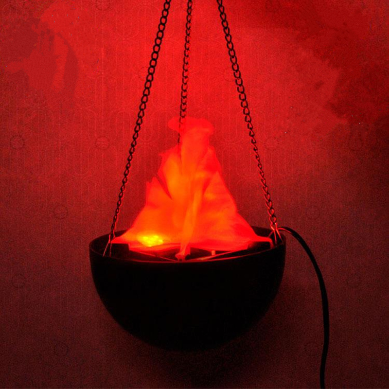 New 220v 20 Cm Halloween Electronic Brazier Light Campfire Flame Chandelier  Lifelike Halloween Props