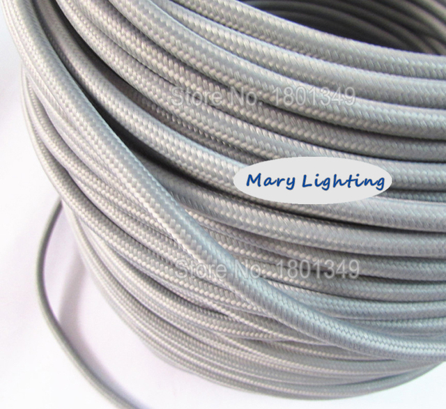 100 meters Grey 2 core 075mm2 Textile Electrical Wire Color Braided