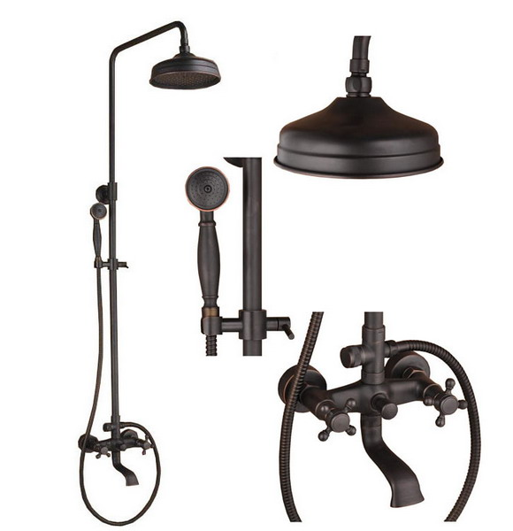 Black Oil Rubbed Brass Wall Mounted Bathroom Rainfall Shower Faucet Set Bath Tub Mixer Tap Crs017
