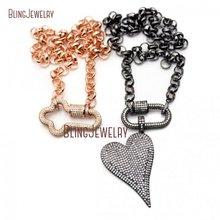 Микро Проложить Винт Застежка-карабин замок ожерелье с бронзовым покрытием розовая золотая цепочка-чокер Cz проложить сердце кулон ожерелье NM26326