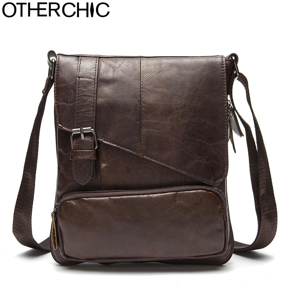 OTHERCHIC Genuine Leather Bags Men High Quality Small Messenger Bags Travel Dark Brown Crossbody Shoulder Bag For Men 7N06-36