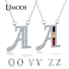 UMODE 2019 New Fashion Clear Zircon Letter Pendant Necklaces for Women Colorful CZ White Gold Link Chains Jewelry Bijoux AUN0363