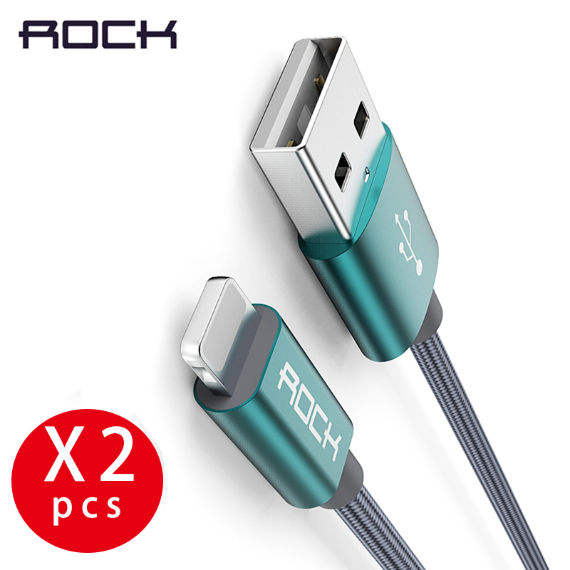 ROCK 2PCS USB Data Cable For iPhone 5s Metal Alloy Nylon Braid 2A Charging cable For iPhone X 8 7 6 6S Cord 2 Packs Mobile Phone Cables     - AliExpress