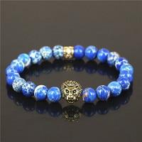 1PC pure Golden Brand Fahion Lion Head Bracelet Bangles Elastic Rope Chain Natural Blue Stone Friendship Bracelet For Women Men