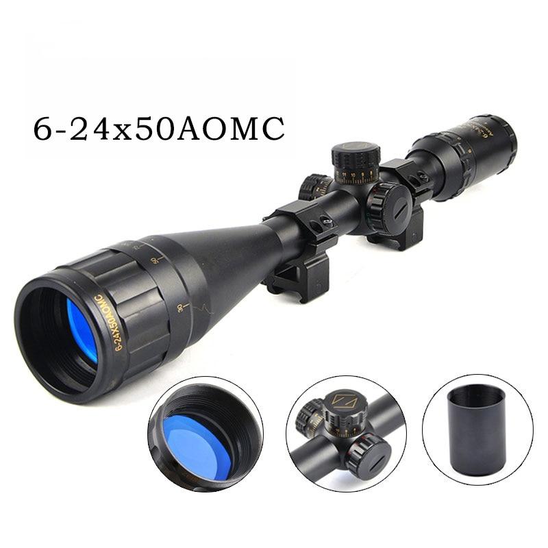 CS 6 24X50 Golden Marking Optics Riflescope Red And Green Retical Fiber Optic Sight Scope Rifle