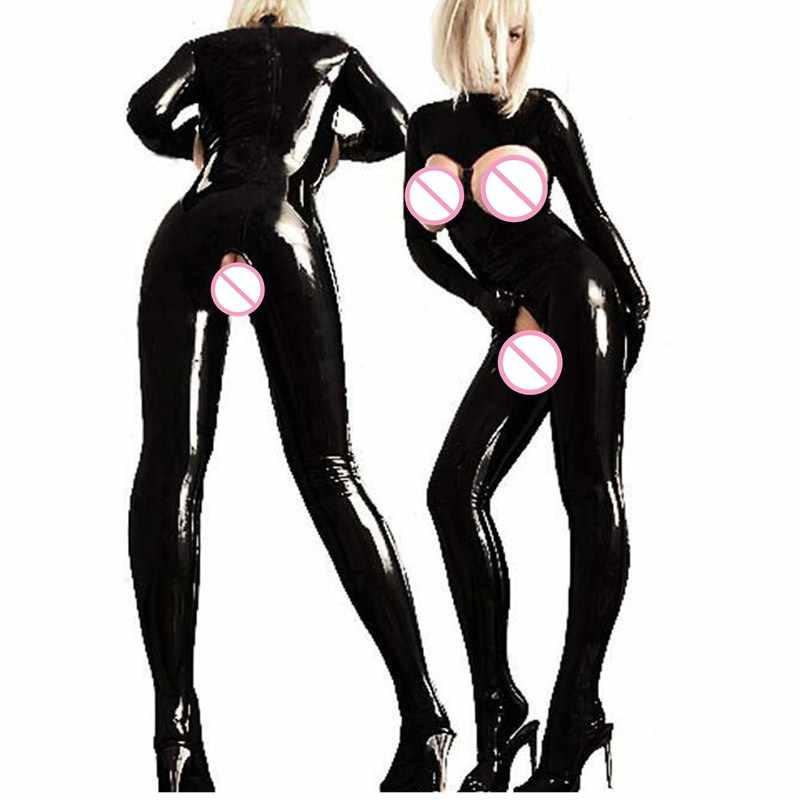 Bayan Seksi siyah suni deri Seksi Kadın Catsuit Sıcak Açık Büstü Kasık PVC Lateks Bodysuit Fetiş ClubWear Dans Seksi Kostümleri