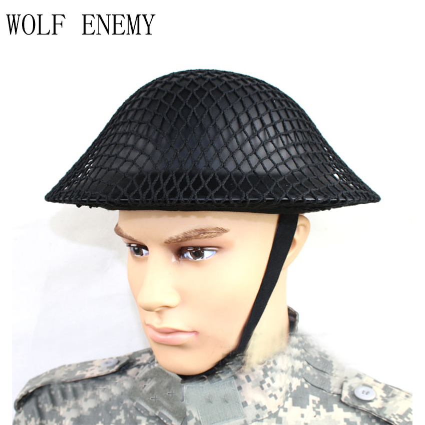 WWII UK Army Original Early World War 2 Mk2 British Tommy Military Army Tactical Steel Helmet AND NET m88 outdoor tactical pure steel war game riding helmet black