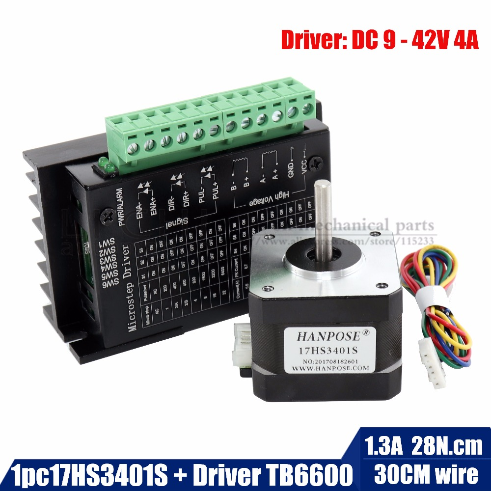 Free shipping 17HS3401-S Nema 17 Stepper Motor 42 motor 1.3A with TB6600 stepper motor driver NEMA17 23 CNC Laser and 3D printerFree shipping 17HS3401-S Nema 17 Stepper Motor 42 motor 1.3A with TB6600 stepper motor driver NEMA17 23 CNC Laser and 3D printer