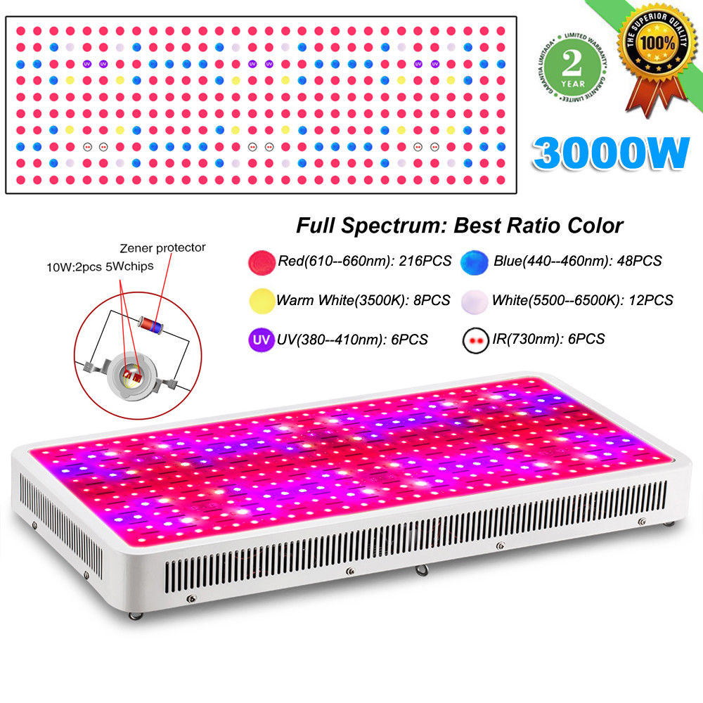 JIERNUO 1pcs 3000W LED Grow Light Full Spectrum Double Chips plant grow light UV IR Red Blue Warm White for Medical Bloom Indoor