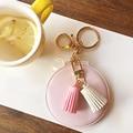 Мини Красоты зеркальце, DIY милый ПУ кисточкой Foliding компактное зеркало для макияжа, Ключевой держатель брелок, свадьба сувенирная продукция
