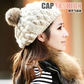 Mohair rabbit fur ball beret knitted hat knitted hat women's autumn and winter knitting wool hat