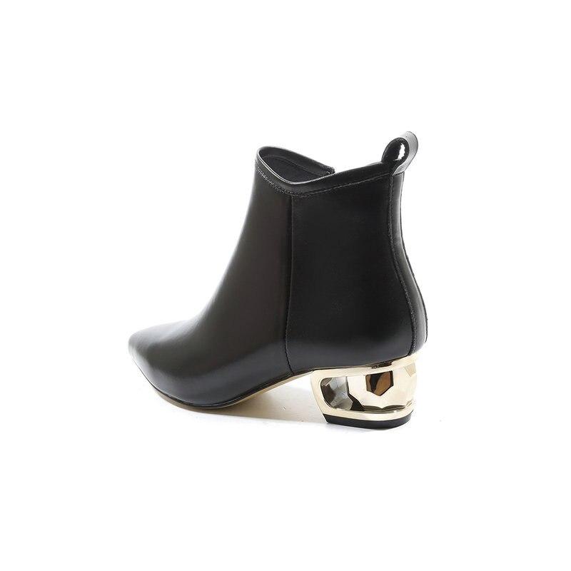 Élégantes Pointu Mode En Bottes Épais Salu noir Cheville Talon Bout Cuir Beige Dames Femmes Véritable Classique Chaussures wSqnROH