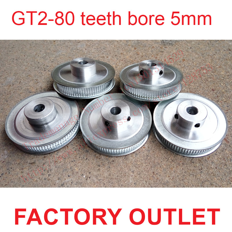 whole sale 5pcs 80 teeth Bore 5mm GT2 Timing Pulley 80 tooth fit width 6mm of 2GT timing Belt High quality Free shipping high quality 1pc 80 teeth gt2 timing pulley bore 5mm 14mm fit width 6mm 2gt timing belt toothed tooth cnc machine 3d printer