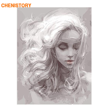 CHENISTORY Grey Girl DIY Digital Painting By Numbers Kits Acrylic Painting With Inner Wooden Framed For Unique Kids Gift Artwork