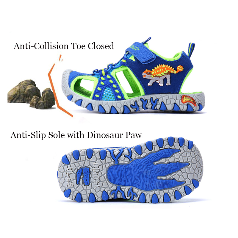 81ef99c2060145 Dinoskulls no led Kids Children Beach Boys Shoes Sandals Summer 2018 Toddler  Sandals Leather Shoes Dinosaur Summer Shoes 27 34-in Sandals from Mother    Kids ...