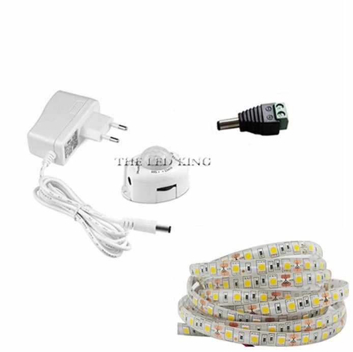 DC12V LED bande capteur de mouvement lumière Auto ON/OFF bande de LED Flexible 1M 2M 3M 4M 5M 10M SMD2835 lit lumière avec alimentation