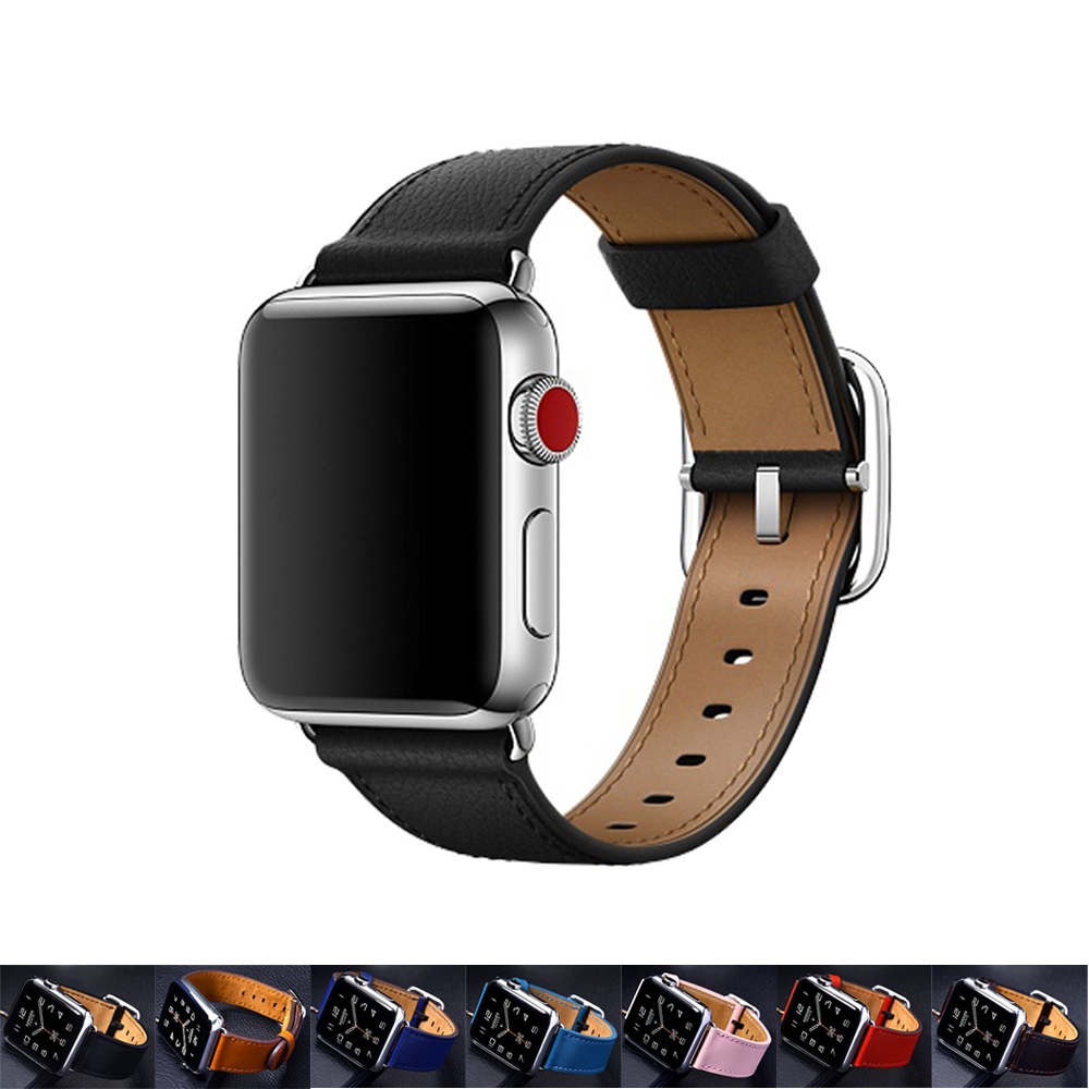 CRESTED Genuine Leather strap for apple watch band 42mm 38mm Classic Buckle belt bracelet watchband for iwatch 3/2/1 watch strap