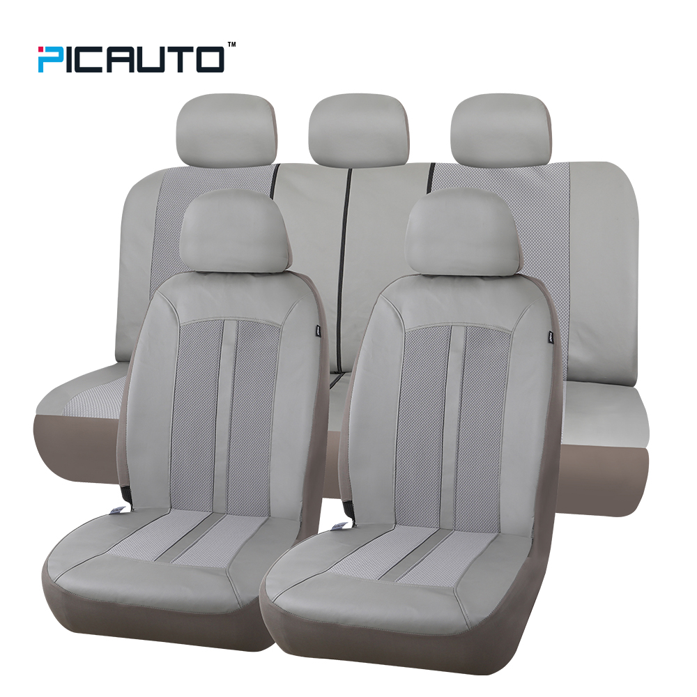 PIC AUTO Waterproof Seat Covers Leather+Jacquard Textured Fabric Universal Car Seat Protector Interior Accessories W/Side Airbag front rear high quality leather universal car seat cushion seat covers for lifan solano lifan smily 320 auto seat protector