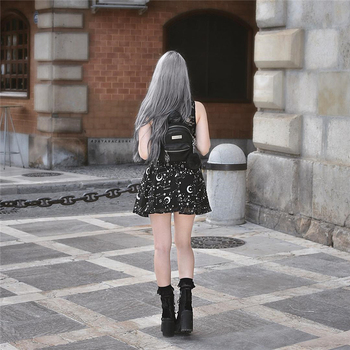 InstaHot Star Printed Pleated Gothic Skirts Women High Waist Punk Black Mini Skirts Constellation Rock Moon Sexy Club Outfits 4