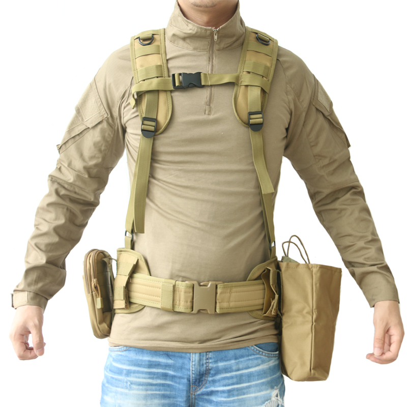 TAK YIYING Molle Tactical Waist Padded Belt With H-shaped Suspender Military Airsoft Nylon Belt стоимость