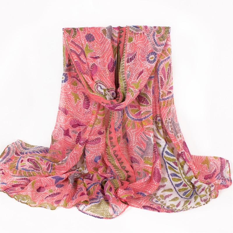 Pink Paisley Large Ladies Scarf Polyester