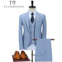 TIAN QIONG New Arrival Mens Tailor made Suits Sky Blue Wedding Suits for Men Slim Fit Suits for Men 3 Piece (Jacket+Pants+Vest)