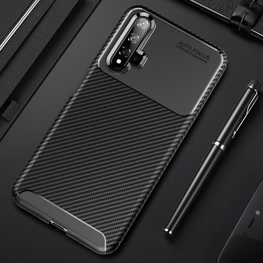 For Honor 20 Case Luxury Carbon fiber Cover Shockproof Phone Case On For Huawei Honor 20 Pro Cover 360 Full Protection Bumper image