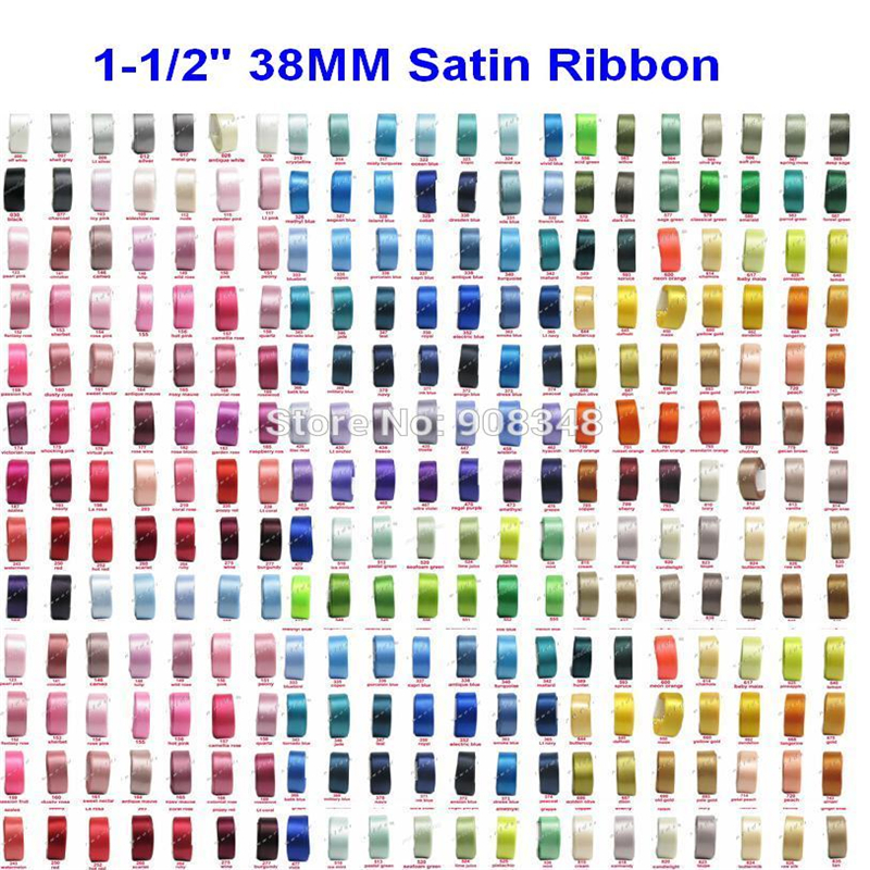 1 1 2 38mm Double Sided 100 polyester solid color satin ribbon for gift ribbon spool