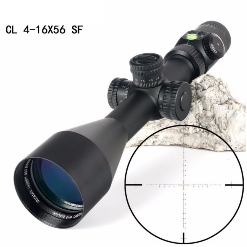 CL 4-16X56 SF Hunting Optics Riflescopes Glass Etched Reticle Side Parallax Turrets Lock Reset Scope With Bubble Level
