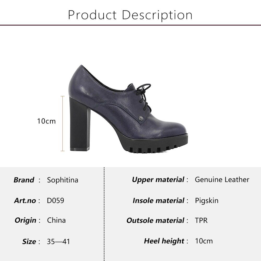 SOPHITINA en cuir véritable dame plate-forme pompes en peau de mouton bleu foncé à lacets haut talon carré femmes chaussures bout rond à la main D59 - 5