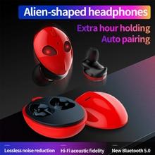 Cute Cartoon Alien TWS Wireless Bluetooth Earphone IPX4 Waterproof Touch Control Binaural Stereo Sport Earbuds With Charging Box