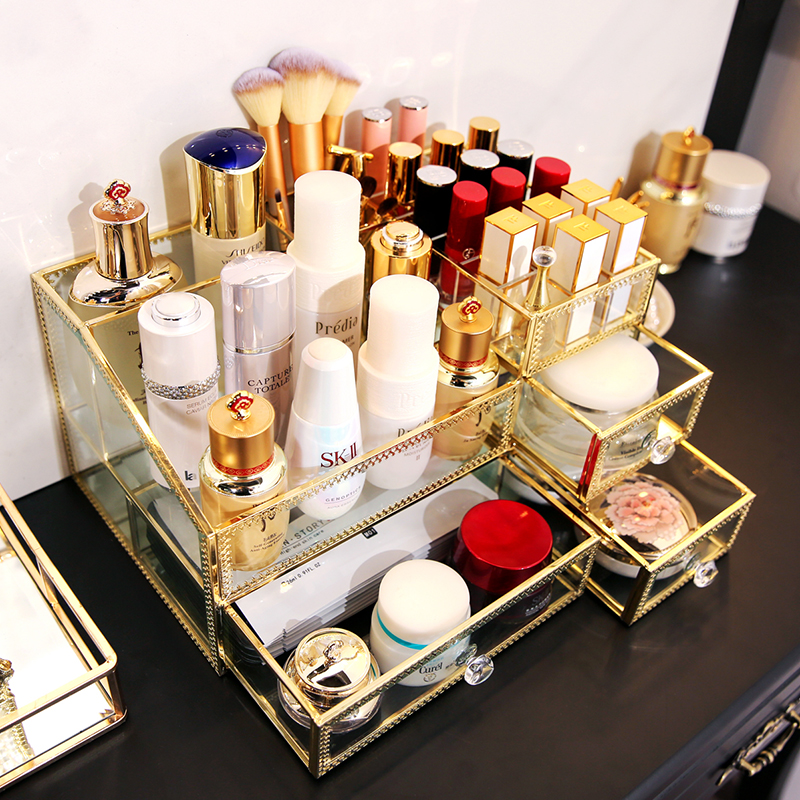 Mutilfunctional Makeup Storage Box Perfume Bottles Box Glass And Metal Gold Lipstick Cosmetic Organizer With Lid Cover B2204