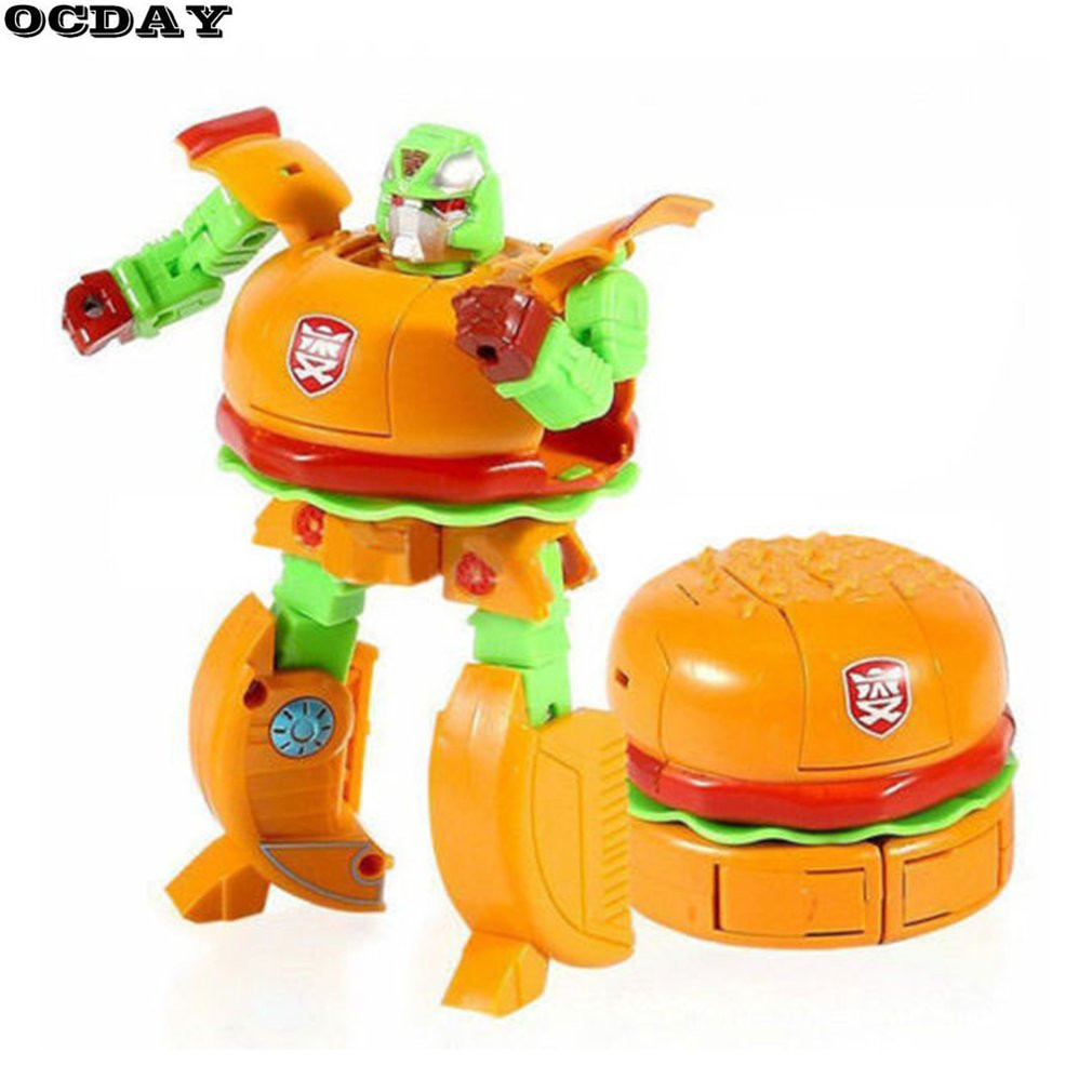 5Pcs Funny Food Design Robot Action Figure Toys Plastic Transformation Anime Figure Children Model Chips Toy for Boys Brinquedos bei fen dark edition transformation automobile tank robot big model 29cm plastic and alloy children gift brinquedos technologica