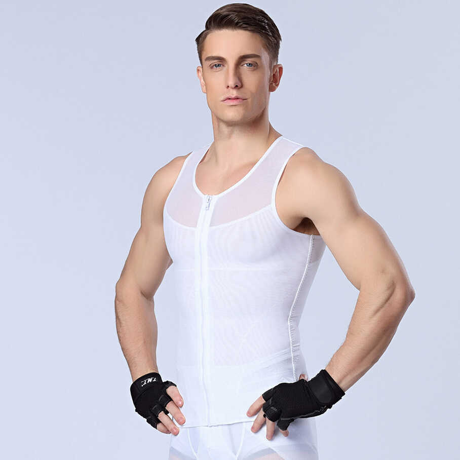 db2331148ca44 ... Men s Front Zipper Slimming t-shirts Male Waist corsets underwear Body  Shapers Lose Weight ...