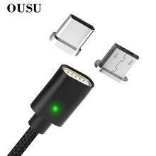 OUSU 2.4A Fast Charging 3 in 1 Magnetic Cable For iphone Lightning USB Type C cabel samsung s9 8 Micro