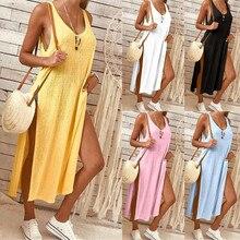 Solid Large Sleeveless Linen Summer Women Dress Long Split Beach Ladies Dresses Loose O-Neck Plus Size Sexy Slip Maxi Sundress цена