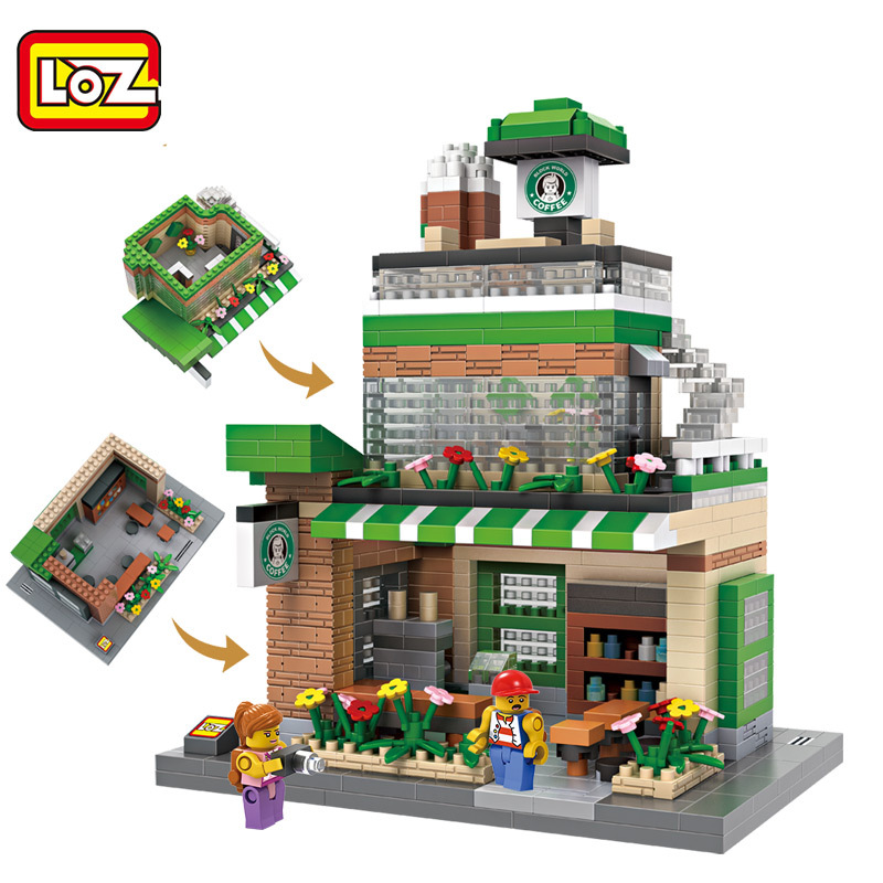 LOZ Diamond Blocks Coffee Shop Building Blocks Children Toys City DIY Creative Bricks Street Blocks Architecture Model Bricks city architecture mini street scene view reims cathedral police headquarters library fire departmen building blocks sets toys