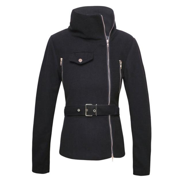Women Black Solid Zipper Up Long Sleeve Motorcycle Jacket Coat Vrouwen Jassen Motorfiets Biker Stand Kraag Jasje 2016 Hot Sale