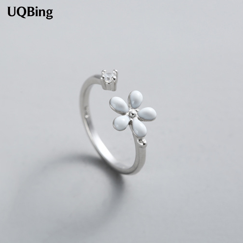Free Shipping 925 Sterling Silver Rings 925 Open Flower With Crystal Rings Jewelry Anillo De Plata Anello