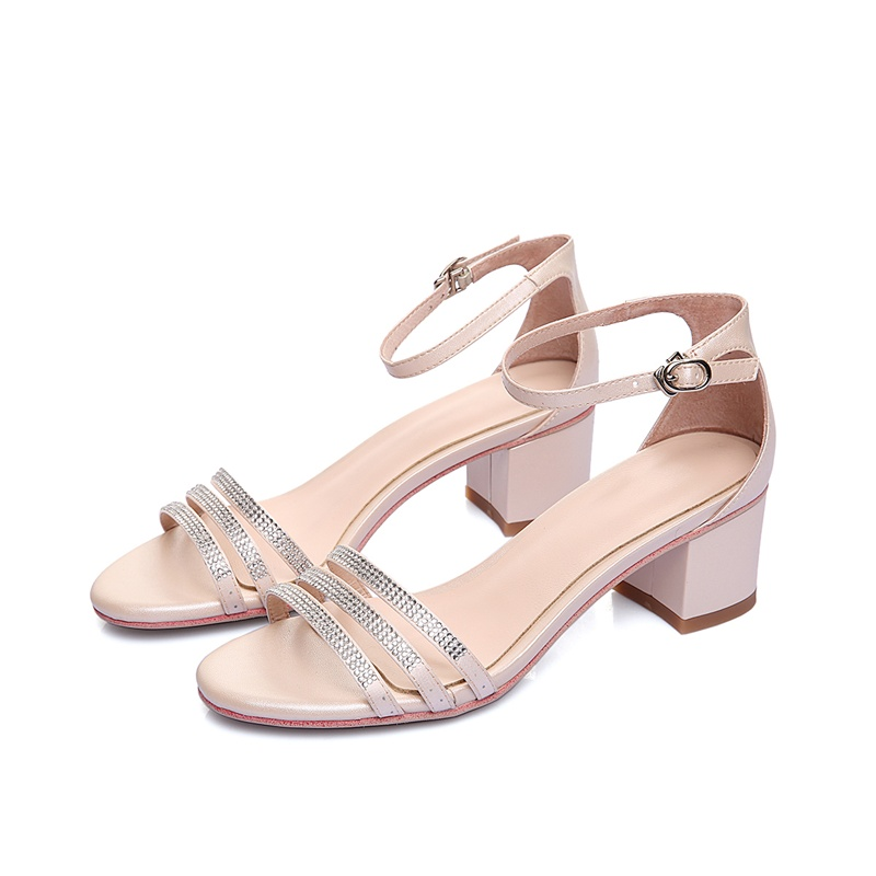 Summer Casual Women high heel Sandals Genuine leather women shoes Sheepskin Buckle Crystal Mixed color Red Beige Peep toe free shipping no 40 3 red color fo shoes and bag set new summer women s shoes low heel shoes crystal high heel shoes