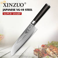 XINZUO 67 Layers 7 Santoku Knife Japanese VG10 Damascus Kitchen Knife Japanese Chef Knife Ebony Wood