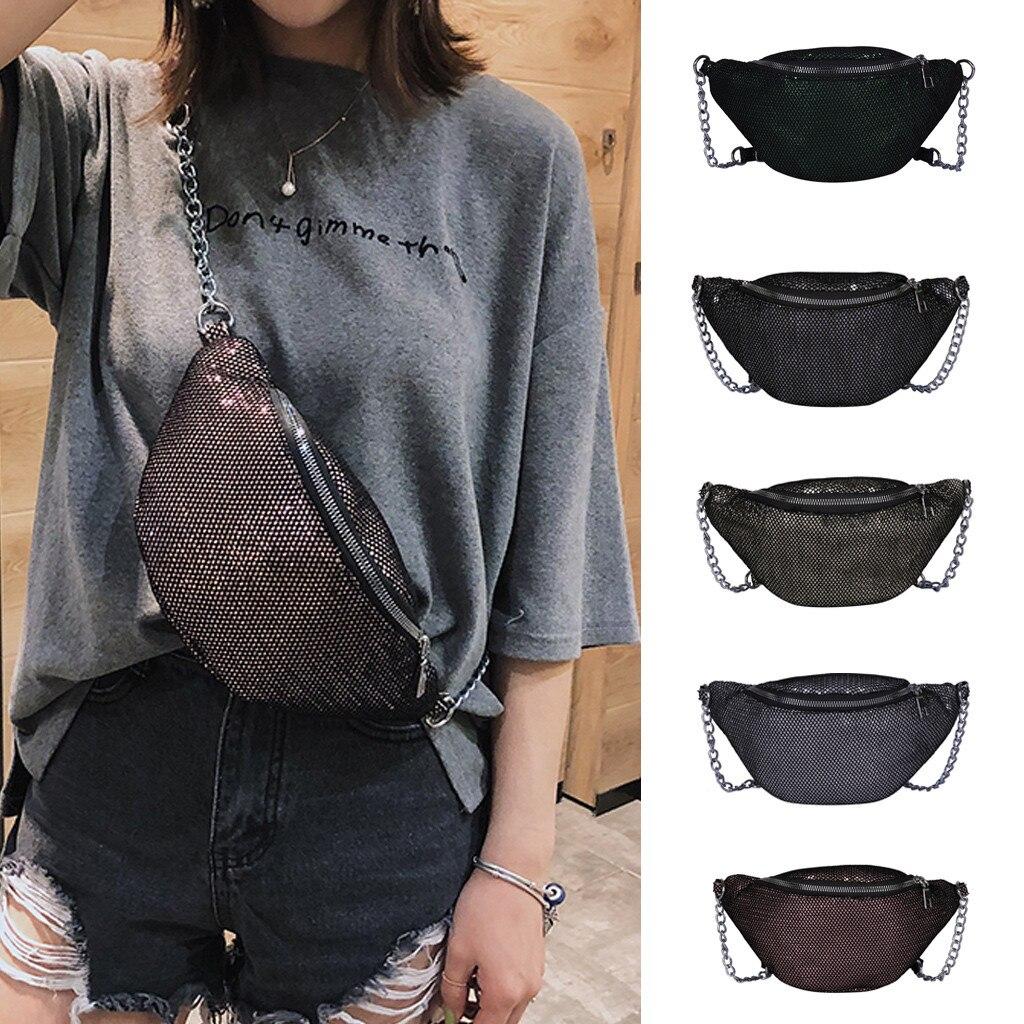 Messenger-Bag Crossbody-Bag Chain-Waist Chest Small Fashion Women Bolso Grid Mesh Outdoor