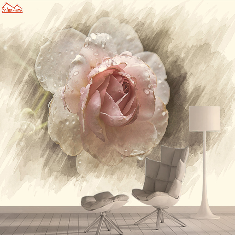 Wallpapers 3d Photo Wallpaper Nature Mural Self Adhesive Wallpapers For Living Room Retro Rose TV Background Papel De Parede