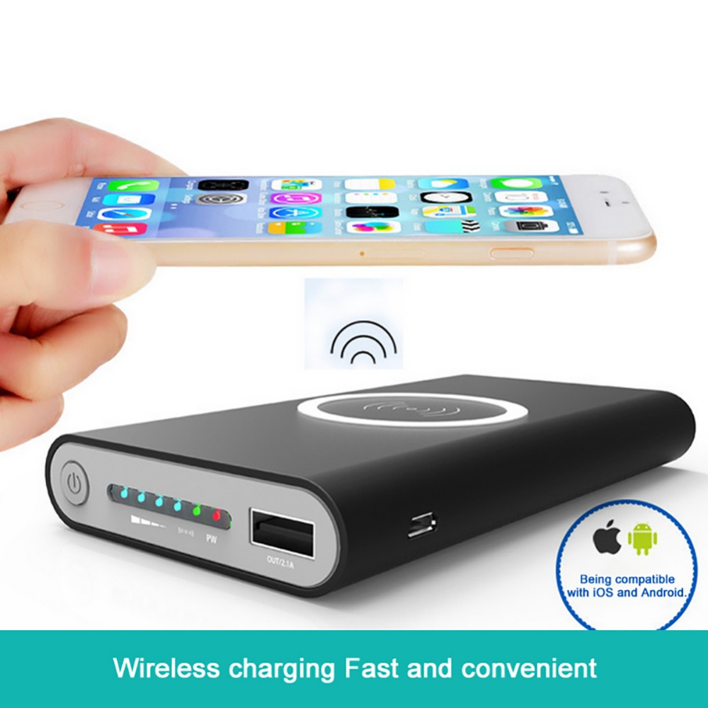 Hot sale Qi 8000mAh Power Bank Wireless Charging Base Type-c Micro usb input portable cargador inalambrico for iphone7 Samsungs8