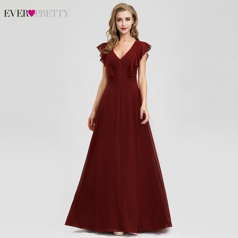 New Arrival Burgundy Evening Dresses Ever Pretty A-Line V-Neck Ruffles Elegant Women Formal Party Gowns Abiye Gece Elbisesi 2020