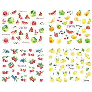 Image 4 - 12 Designs Nail Art Sticker Slider Water Decals Summer Cherry Strawberry Fruit for Transfer Manicure Tip Decoration JIBN829 840