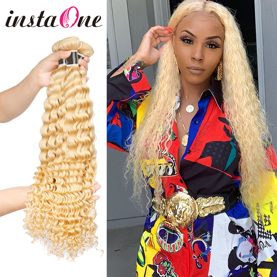 Instaone 1/3/4 Bundles 30 40Inches Honey Blonde Curly Brazilian Human Hair Weave 613 Color Remy Hair Extension Deep Wave