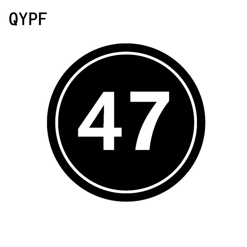 QYPF 12CM*12CM Funny Number 47 Round Circle Decal Black/Silver Vinyl Car Sticker Accessories C15-0569