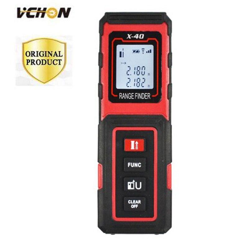 Vchon красный ручной 40 м лазерный дальномер цифровой электроники точности 1.5 мм дальномер Портативный области/объем Инструменты