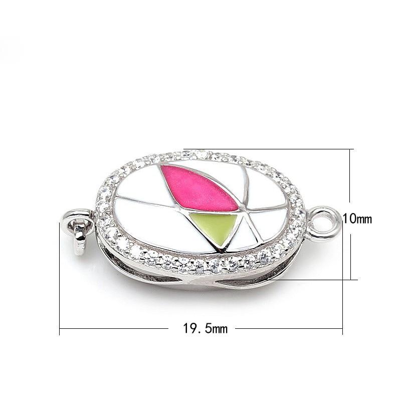 Hot ovale émaillé Zircon Micro Pave 925 en argent Sterling boîte fermoirs pour bricolage perle pierre gemme collier Bracelet bijoux SC-BC218 - 3